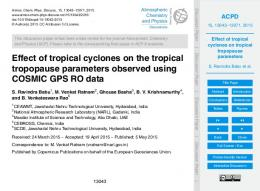 Effect of tropical cyclones on tropical tropopause ...