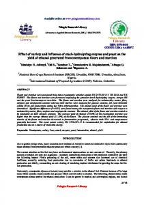 Effect of variety and influence of stach-hydrolyzing enzyme ... - iMedPub