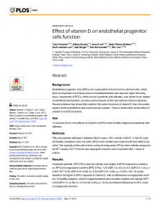 Effect of vitamin D on endothelial progenitor cells function - PLOS