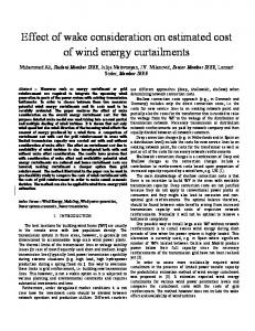 Effect of wake consideration on estimated cost of wind energy ...