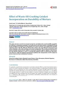Effect of Waste Oil-Cracking Catalyst Incorporation on Durability of ...