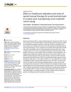 Effect on healthcare utilization and costs of spinal manual ... - PLOS