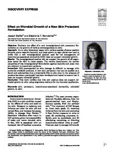 Effect on Microbial Growth of a New Skin Protectant Formulation