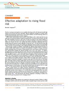 Effective adaptation to rising flood risk - Nature