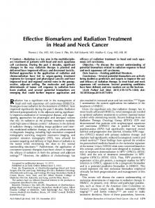 Effective Biomarkers and Radiation Treatment in Head and Neck Cancer