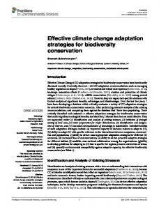 Effective climate change adaptation strategies for ... - Frontiers