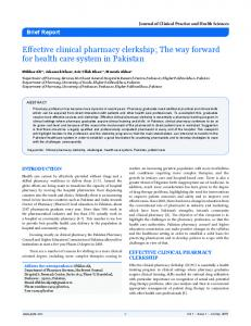 Effective clinical pharmacy clerkship - Journal of Clinical Practice and ...