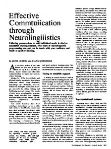 Effective Communication through Neurolinguistics.