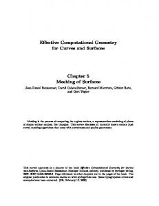 Effective Computational Geometry for Curves and Surfaces Chapter 5 ...