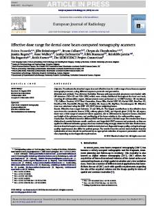 Effective dose range for dental cone beam computed tomography ...