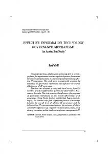 effective information technology governance mechanisms