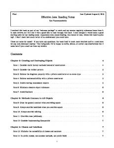 Effective Java Reading Notes Contents