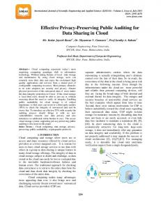 Effective Privacy-Preserving Public Auditing for Data Sharing in Cloud