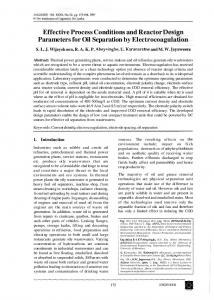 Effective Process Conditions and Reactor Design ...