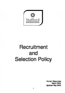 EFFECTIVE RECRUITMENT AND SELECTION CHECKLIST