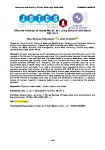 Effective Removal of Heavy Metal Ions Using Glycerol and ... - DergiPark