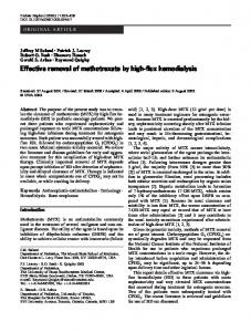Effective removal of methotrexate by high-flux ... - Springer Link