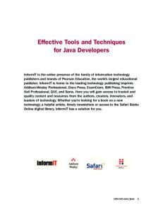 Effective Tools and Techniques for Java Developers - Bitpipe