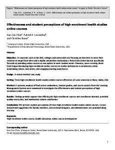 Effectiveness and student perceptions of high ... - patrick r. lowenthal