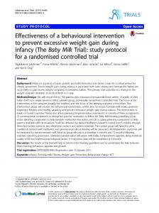 Effectiveness of a behavioural intervention to prevent excessive ...