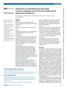 Effectiveness of a brief behavioural intervention to prevent ... - The BMJ
