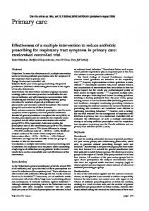 Effectiveness of a multiple intervention to reduce antibiotic prescribing