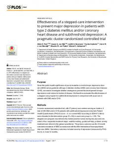 Effectiveness of a stepped-care intervention to prevent major ... - Plos