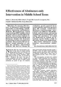 Effectiveness of Abstinence-only Intervention in Middle School Teens