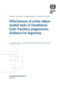 Effectiveness of active labour market tools in Conditional Cash ...