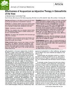 Effectiveness of Acupuncture as Adjunctive Therapy in Osteoarthritis of ...