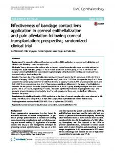 Effectiveness of bandage contact lens application in corneal ...