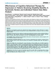 Effectiveness of Cognitive Behavioral Therapy for ... - Semantic Scholar