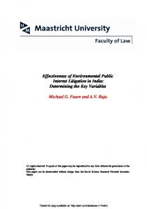 Effectiveness of Environmental Public Interest Litigation in India - SSRN