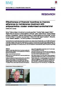 Effectiveness of financial incentives to improve adherence to ...
