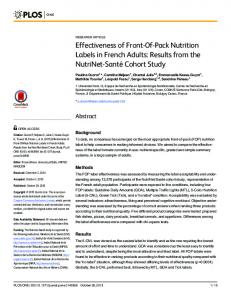 Effectiveness of Front-Of-Pack Nutrition Labels in French Adults