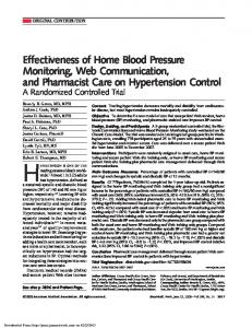 Effectiveness of Home Blood Pressure Monitoring, Web