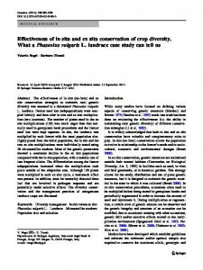 Effectiveness of in situ and ex situ conservation of crop diversity. What ...