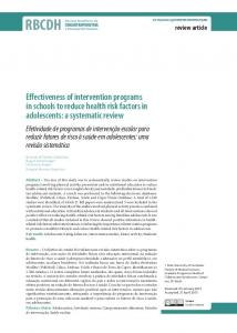 Effectiveness of intervention programs in schools to reduce health risk ...