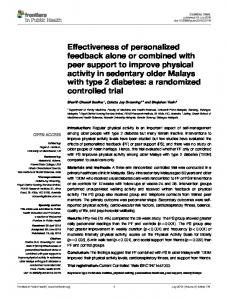 Effectiveness of personalized feedback alone or combined with peer ...