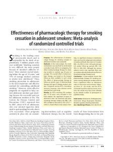Effectiveness of pharmacologic therapy for smoking cessation in ...