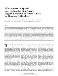 Effectiveness of Spanish Intervention for First-Grade English ...