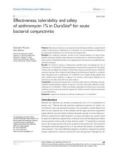 Effectiveness, tolerability and safety of