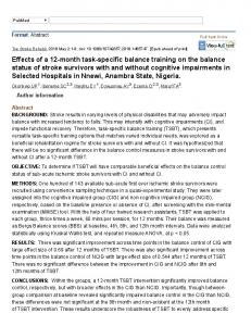 Effects of a 12-month task-specific balance training on