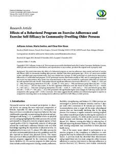 Effects of a Behavioral Program on Exercise Adherence and Exercise ...