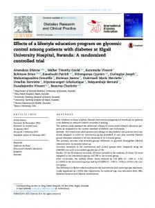 Effects of a lifestyle education program on glycemic control among ...