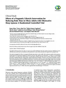 Effects of a Pragmatic Lifestyle Intervention for Reducing Body Mass in ...