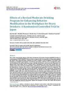 Effects of a Revised Moderate Drinking Program for Enhancing ...