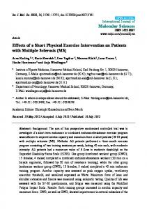 Effects of a Short Physical Exercise Intervention on ... - Semantic Scholar