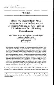 Effects of a Student-Reads-Aloud Accommodation on the Performance