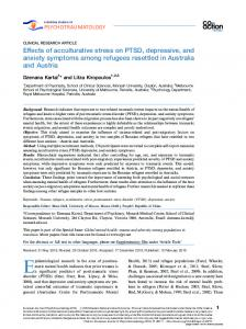 Effects of acculturative stress on PTSD, depressive, and anxiety ...